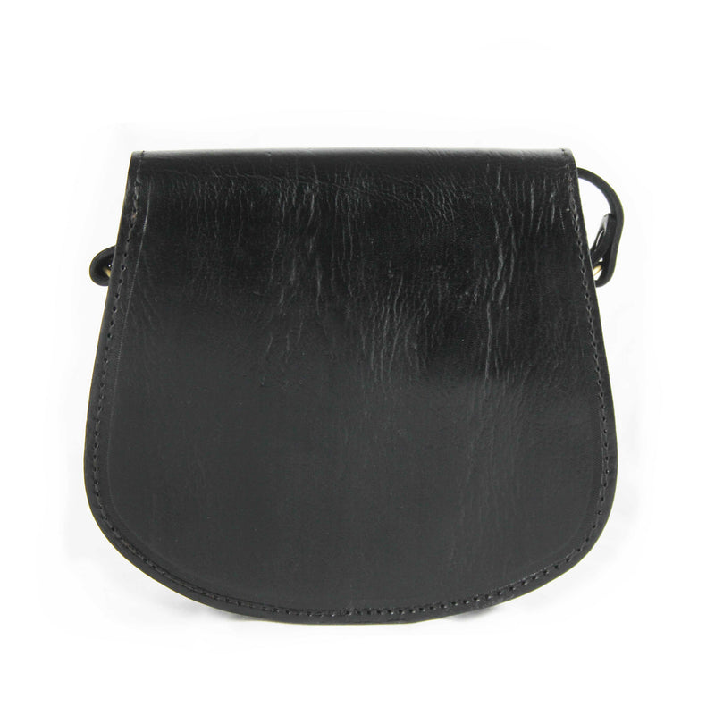 Maya Small Black Leather Saddle Bag