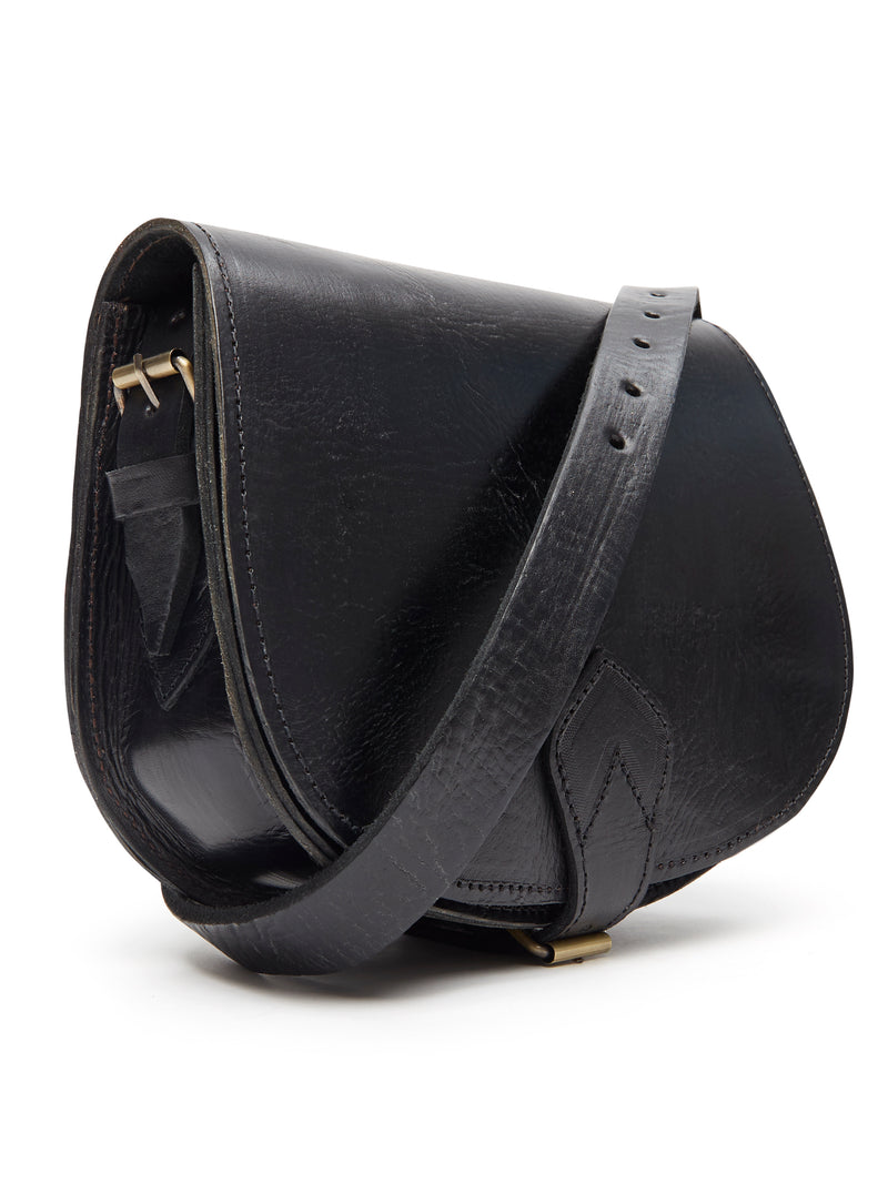 Medium Sam Saddle Bag - Black
