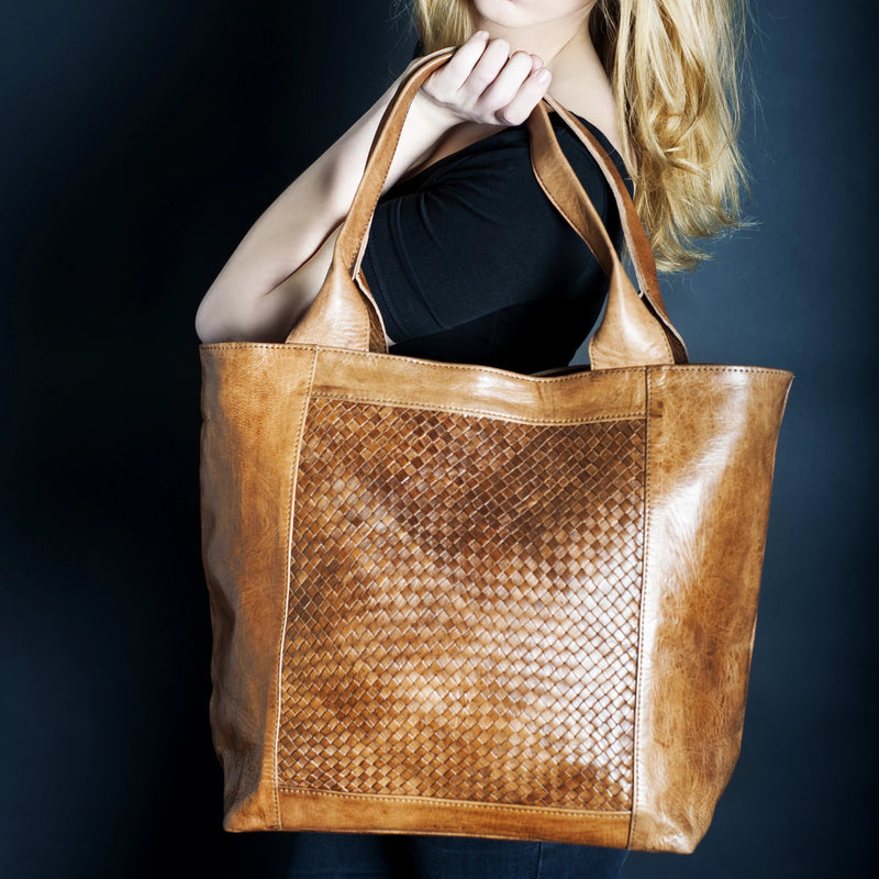 Detail Woven Tote - Tan-ISMAD LONDON