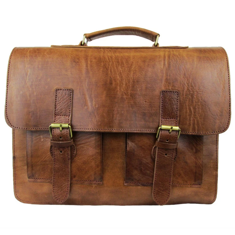 Spitalfields Briefcase - Tan-ISMAD LONDON