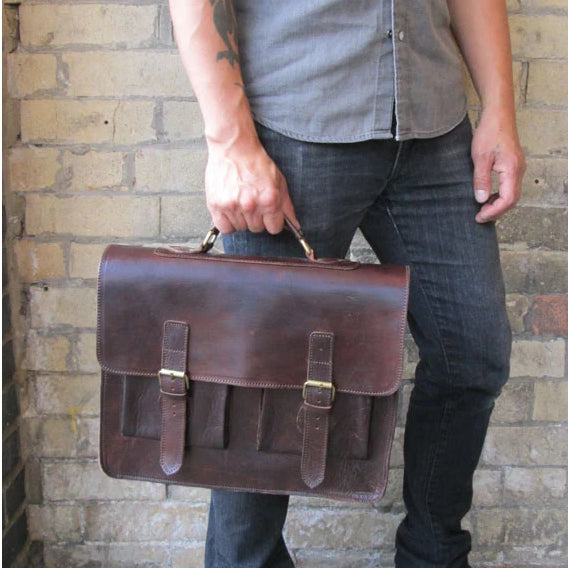 Spitalfields Briefcase - Chocolate