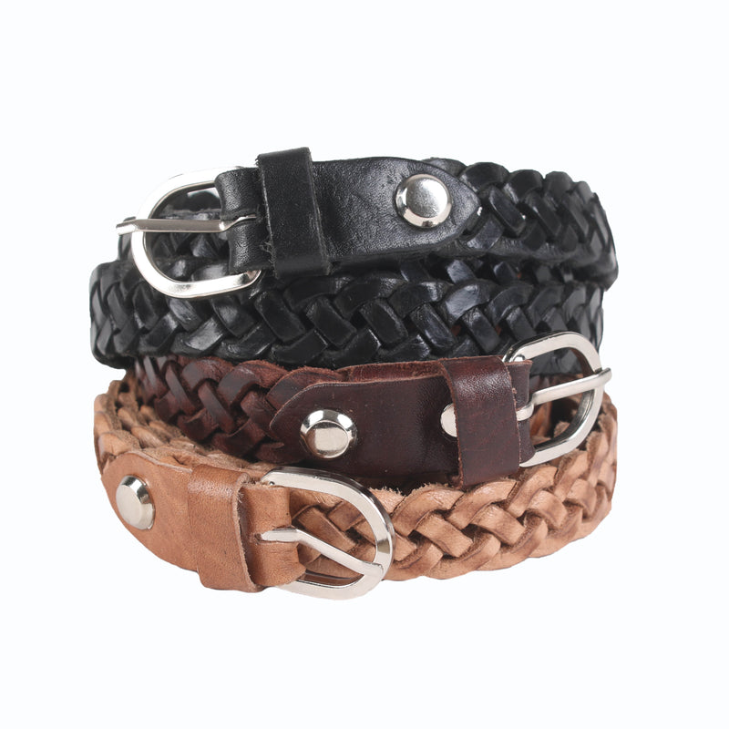 Skinny Woven Leather Belt - handmade leather bags smadlondon
