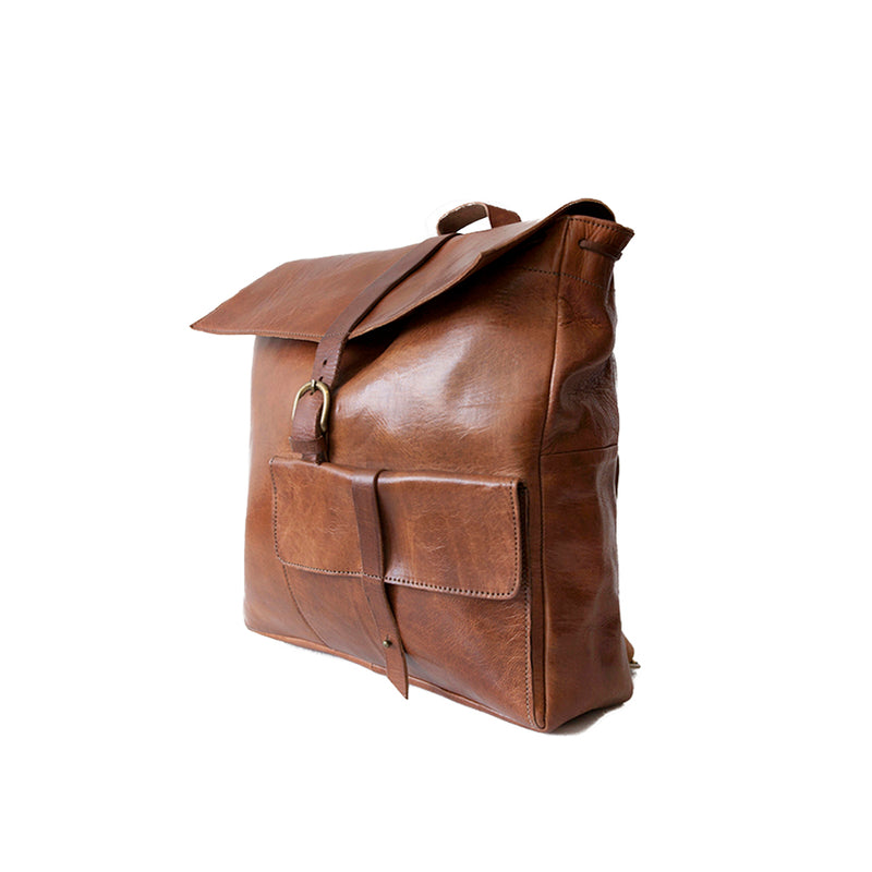 Square Backpack -Tan-ISMAD LONDON
