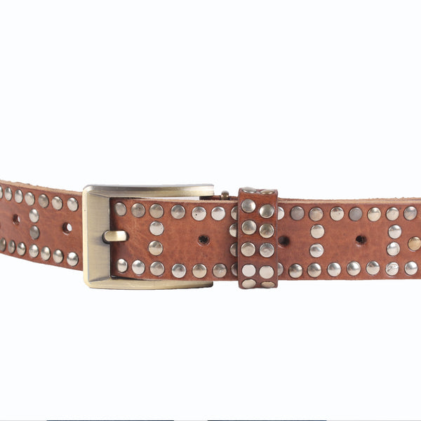 Studded Rivets Leather Belt - handmade leather bags smadlondon