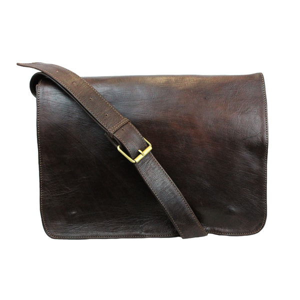 Victor Leather Messenger - Chocolate-ISMAD LONDON