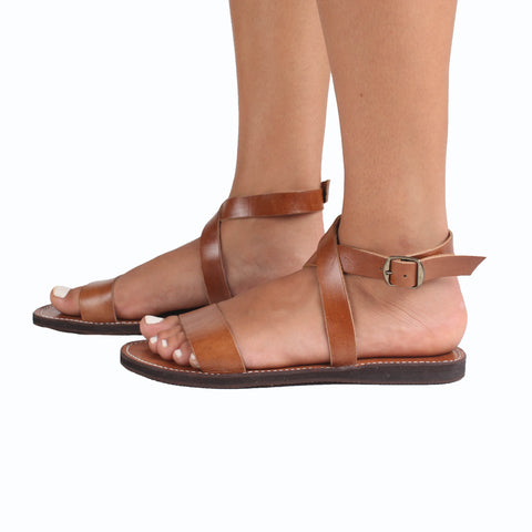 Wrap Leather Sandals - handmade leather bags smadlondon