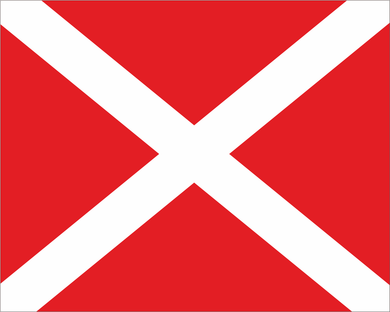 Red with White X 'SAFETY VEHICLE' Motocross Flag