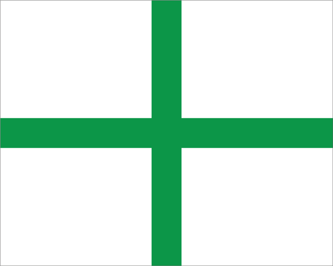 White with Green + 'MEDICAL' Road Race Flag