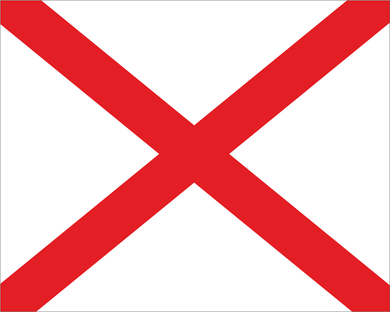 White with Red X 'RAIN ON TRACK' Road Race Flag