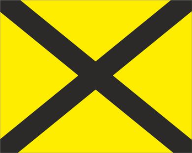 Yellow with Black X 'LAST LAP' Road Race Flag