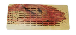 Flame Box Elder Cribbage Board - Three Player - with storage bag for Cards, pegs, and instructions