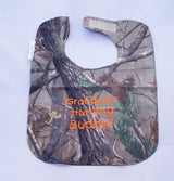 Grandpa's Hunting Buddy - Camo Hunting Baby Bib - Boys - Orange Lettering