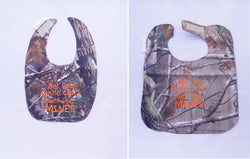 Bet Your Auntie Can't hunt Like Mine - Camo Hunting Baby Bib - Boys - Hunter Orange Lettering