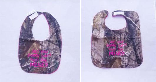 Bet Your Daddy Can't hunt Like Mine - Camo Hunting Baby Bib - Girls - Hot Pink Lettering