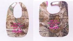 Bet Your Grandpa Can't hunt Like Mine - Camo Hunting Baby Bib - Girls - Hot Pink Lettering