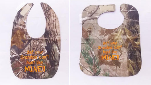 Bet Your Grandpa Can't hunt Like Mine - Camo Hunting Baby Bib - Boys - Hunter Orange Lettering