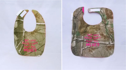 Bet Your Papa Can't hunt Like Mine -Camo Hunting Baby Bib - Girls - Hot Pink Lettering