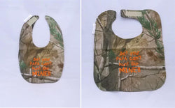 Bet Your Papa Can't hunt Like Mine -Camo Hunting Baby Bib - Boys - Hunter Orange Lettering