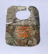 Bet Your Uncle Can't hunt Like Mine - Camo Hunting Baby Bib - Boys - Hunter Orange Lettering