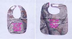 Can't Wait To Hunt With My Aunt - Camo Hunting Baby Bib - Girls - Hot Pink Lettering