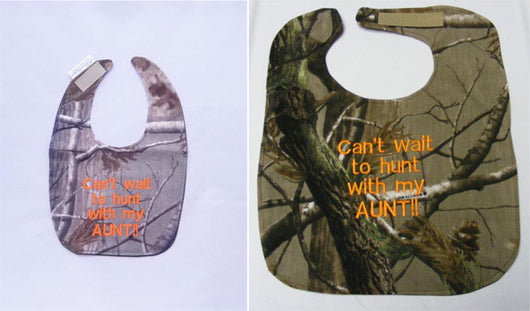 Can't Wait To Hunt With My Aunt - Camo Hunting Baby Bib - Boys - Orange Lettering