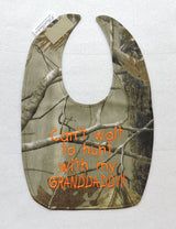 Can't Wait To Hunt With My Granddaddy - Camo Hunting Baby Bib - Boys - Orange Lettering