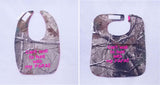 Can't Wait To Hunt With My Papa - Camo Hunting Baby Bib - Girls - Hot Pink Lettering