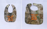 Can't Wait To Hunt With My Uncle - Camo Hunting Baby Bib - Boys - Orange Lettering