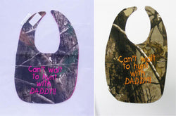 Can't Wait To Hunt With My Daddy - Camo Hunting Baby Bib - Boys and Girls