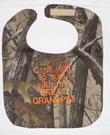 Can't Wait To Hunt With My Grandpa - Camo Hunting Baby Bib - Boys - Orange Lettering
