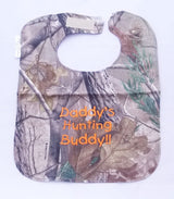 Daddy's Hunting Buddy - Camo Hunting Baby Bib - Boys - Orange Lettering