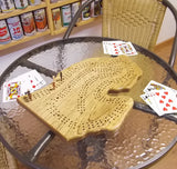 State of Michigan Lower Peninsula Cribbage Board - Highly Figured Butternut Wood - Up to Three Player - with storage bag for Cards, pegs, and instructions