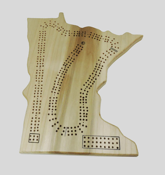 State of Minnesota Shaped State Cribbage Board - Poplar Wood - Up to Three Player - with storage bag for Cards, pegs, and instructions