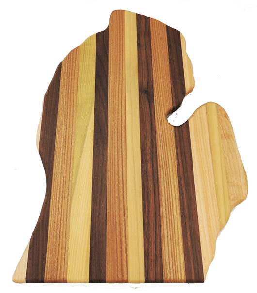 State of Michigan Shaped Cutting Board - Multiple Woods - In stock ready to ship
