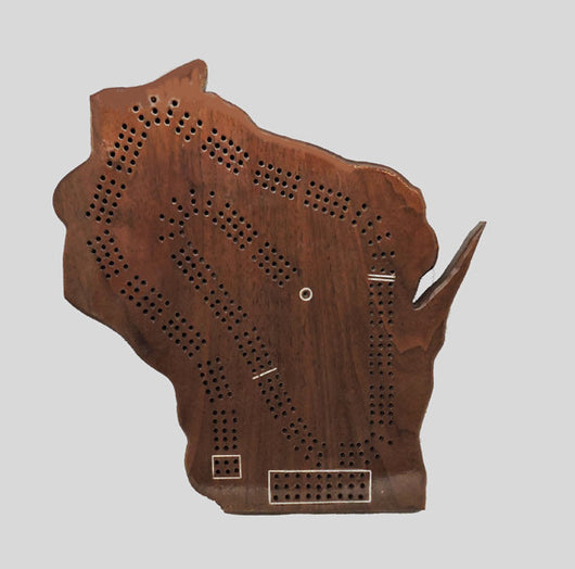 State of Wisconsin Shaped Cribbage Board - Walnut Wood - Up to Three Player - with storage bag for Cards, pegs, and instructions