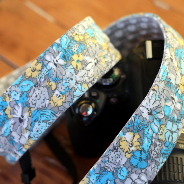 Marley Blue Gray Floral Camera Strap