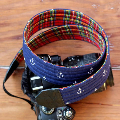 Hamilton Nautical Plaid Camera Strap