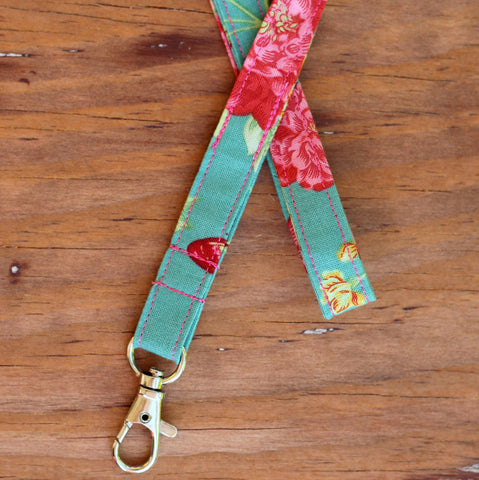 Clipper Blue Green Floral Lanyard