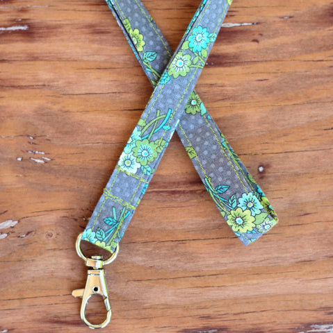 Clipper Gray Floral Lanyard