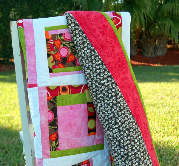 Pinks Log Cabin Baby Quilt