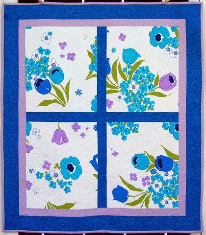 Blues Patchwork Floral Baby Quilt