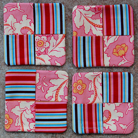 SALE Save 30% - Subic Bay Pink Fabric Coasters