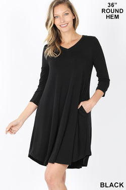 Long Sleeve V Neck Dress