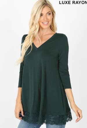 Hunter Green Lace Top