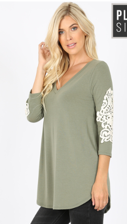 Olive V Neck w/ Lace Elbow Patch