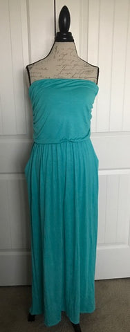 Teal Strapless Maxi