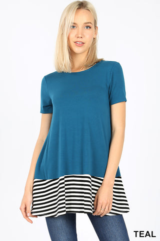 Teal Stripe & Solid Contrast