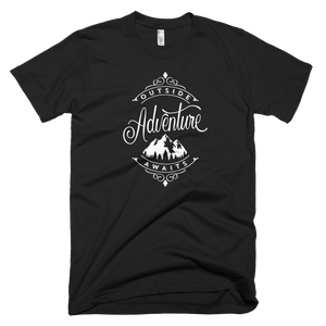 "Men's Super Soft Short Sleeve T-Shirt Made in the USA ""Outside Adventure Awaits"""