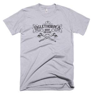 "Men's Short sleeve Super Soft T-Shirt ""Oglethorpe's Rent an Axe"""