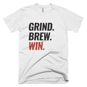 "Men's Short Sleeve Super Soft T-Shirt ""Grind. Brew. Win."""